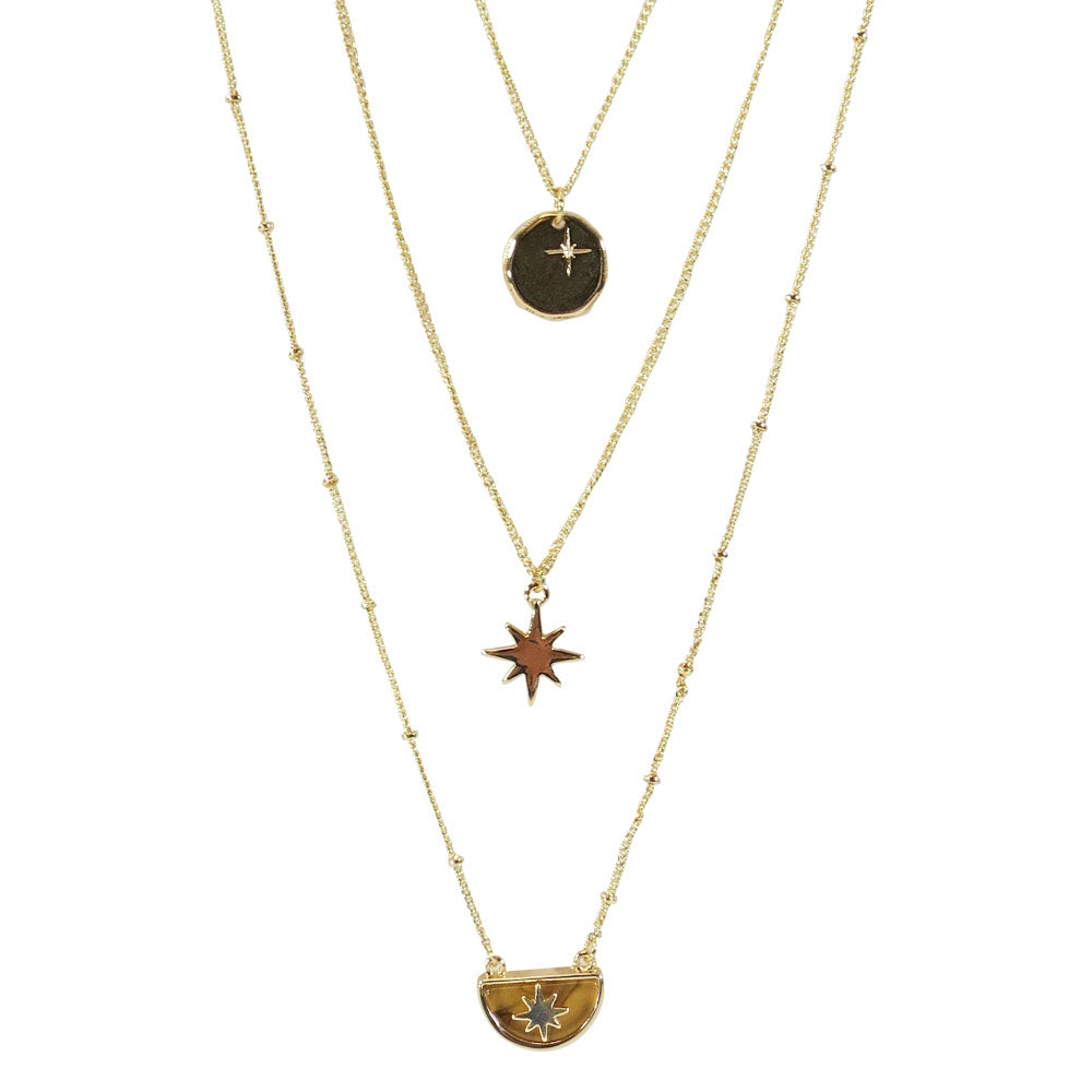 Triple Layered Pendant Necklace