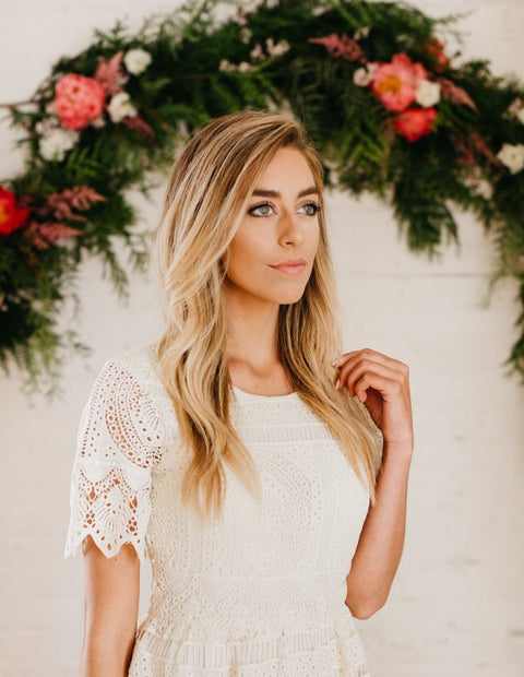 Ashley Lemieux Cream Lace Midi Dress