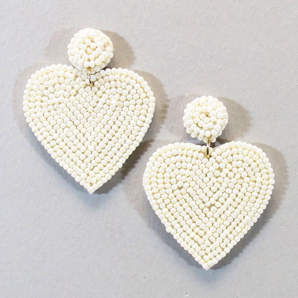 Small Beaded Heart Earrings