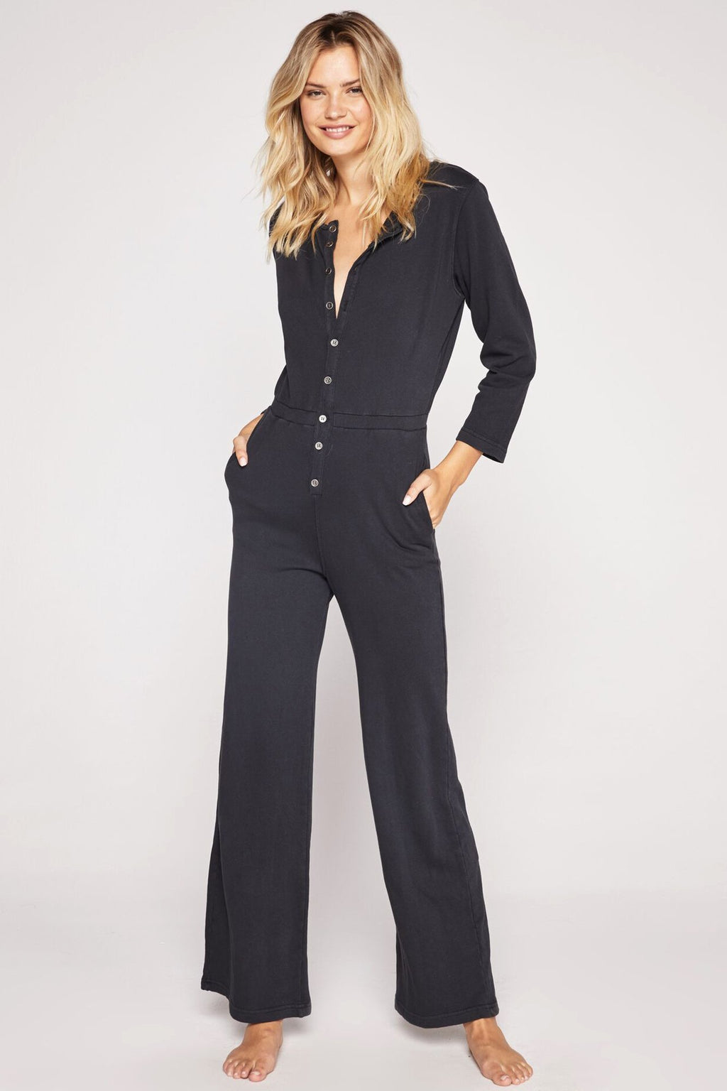 Spiritual Gangster French Terry Button Down Jumpsuit