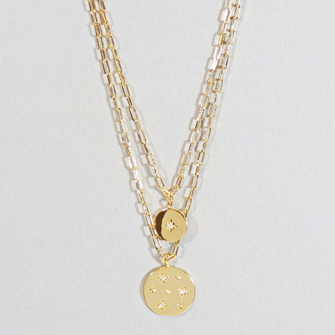 Layered Star Coin Necklace