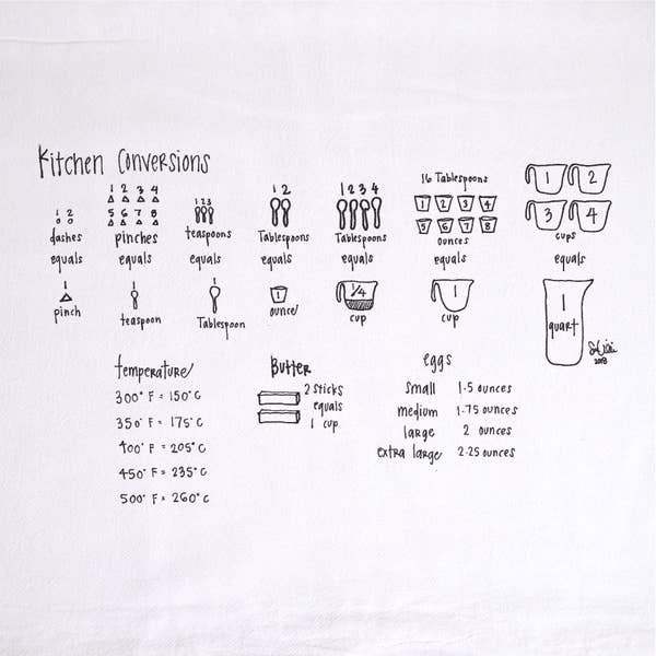 Kitchen Measurements Tea Towel