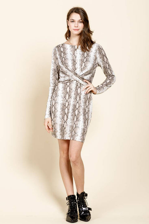 Brushed Snake Pattern Knit Dress