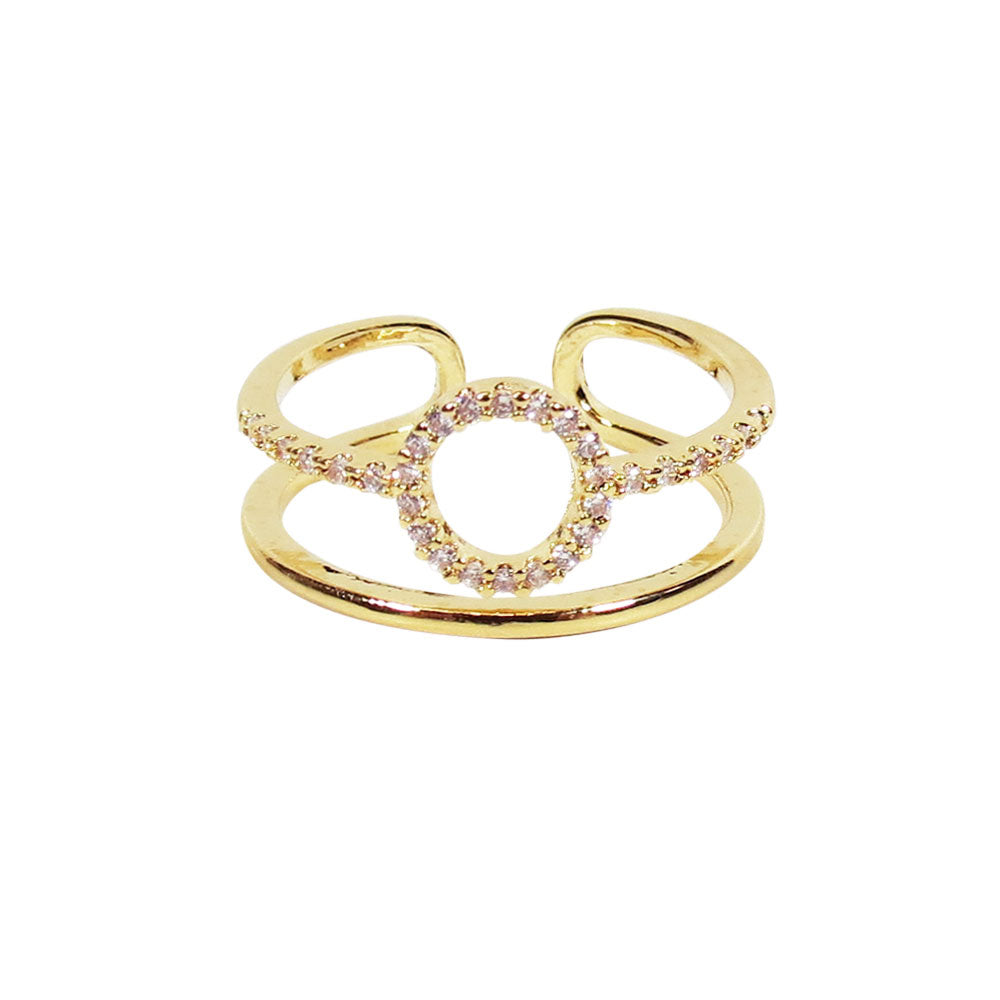 Double Band Circle Rhinestone Ring