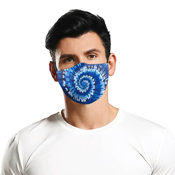 Blue Swirl Tie Dye Face Mask