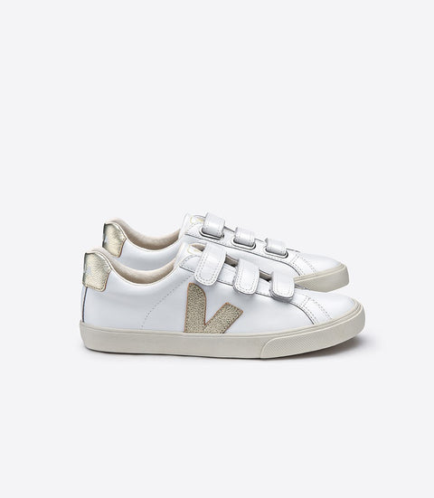 VEJA 3-Lock Leather Extra White + Gold