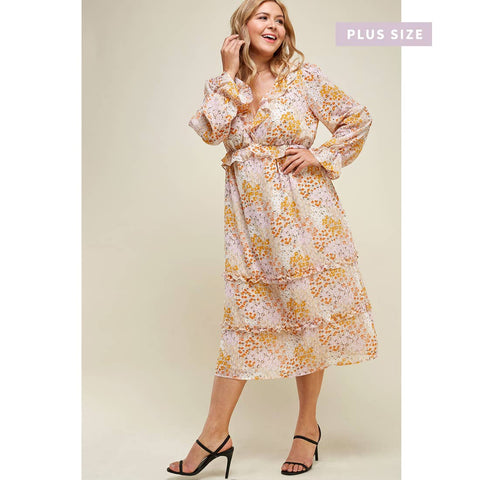 Floral Long Sleeve Ruffle Midi Dress