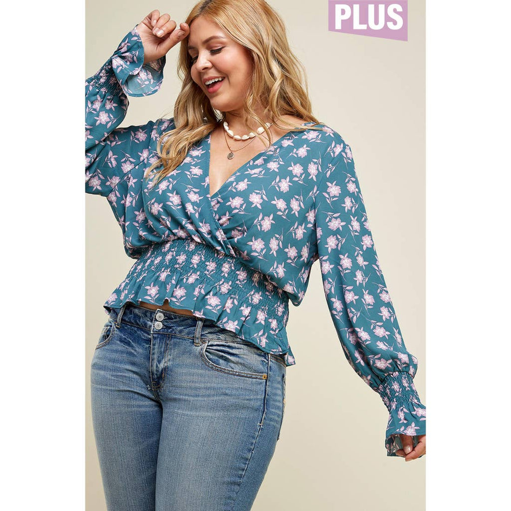 Floral Puff Sleeve Smock Yoke Top