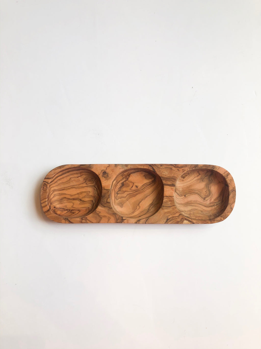 Olive Wood 3 Section Tray