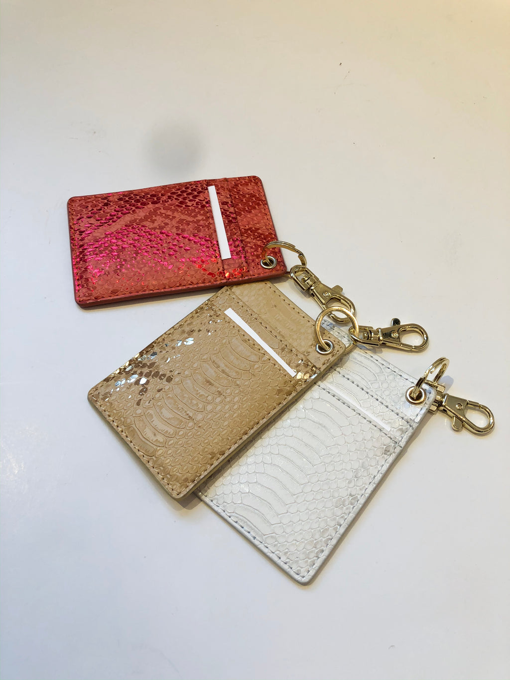 Reptile Embossed Card Holder with Key Chain