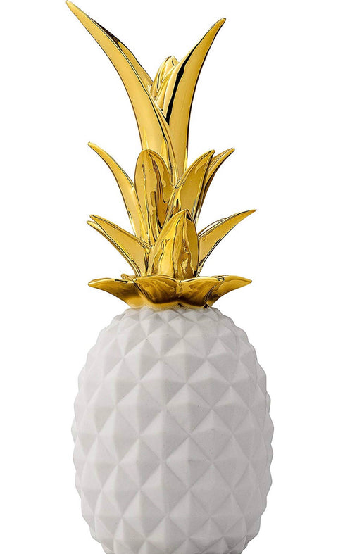Pineapple Stoneware- Matte White & Gold