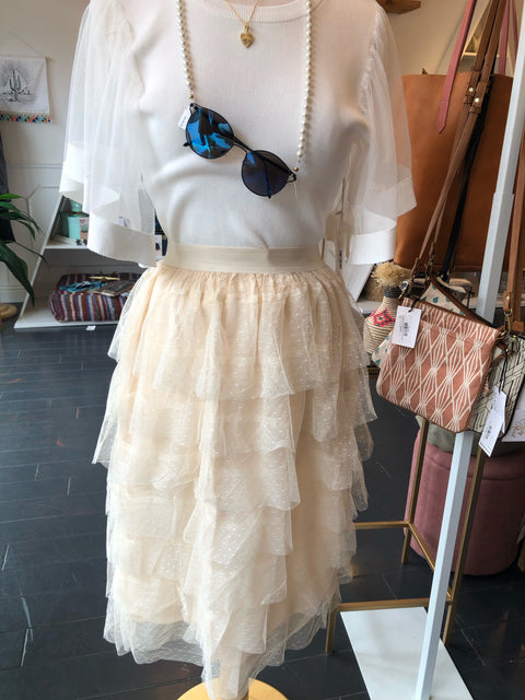 Dot Mesh Tiered Skirt