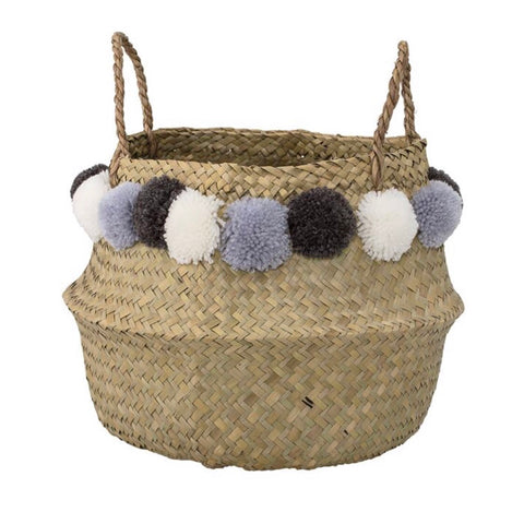 Natural Seagrass Basket w/ Handles & Pom Poms