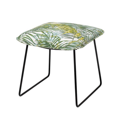 Bamboo Print Stool With Black Metal Legs
