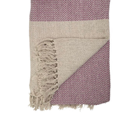 Cotton Blend Knit Throw w/ Fringe- Rose and Cream