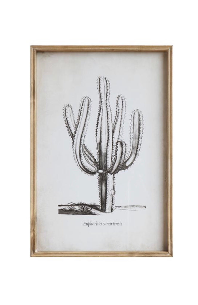 Cactus Wood Framed Glass Wall Decor