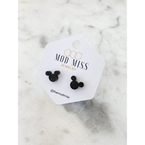 Black Glitter Mickey Mouse Studs