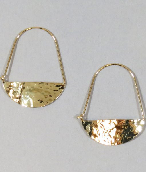 Wavy Oval Hammered Earrings