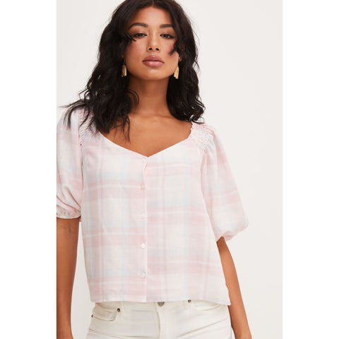 Gingham Button Top