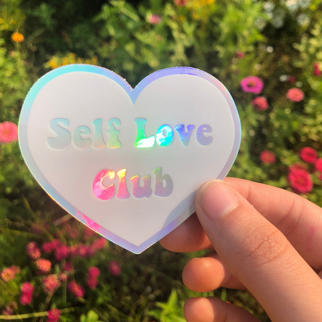 Holographic Self Love Club Sticker
