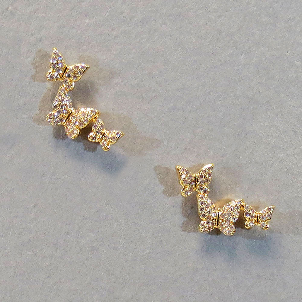 Triple Butterfly Stud Earrings