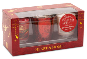 Votive Gift Pack Sets (Christmas Spirit/Red Mercury Holder/Snow Angel) From Heart and Home