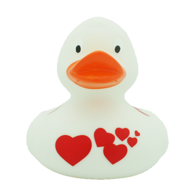 White Rubber Duck with Red Hearts By Lilalu