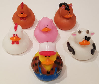 Farm Rubber Duckies - Pack of 6 Ducks
