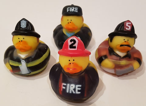 Firefighter Rubber Duckies - Pack of 4 Ducks