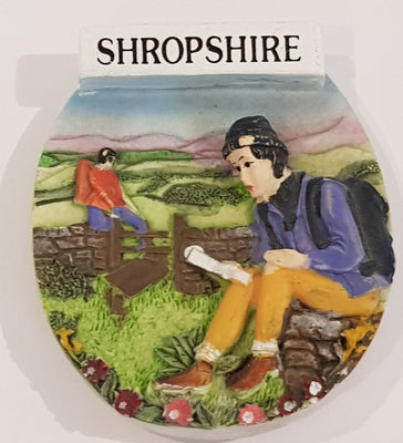 Ceramic Fridge Magnet - Shropshire Hiker