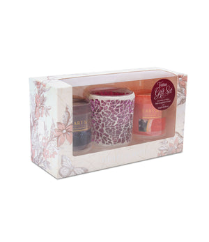 Mulberry Crackle Votive Gift Set (2V&1H) From Heart and Home