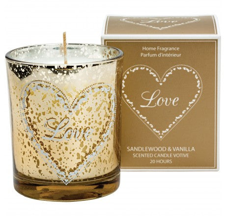 Loving Hearts Scented Candle - Sandlewood and Vanilla