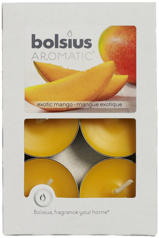Bolsius Aromatic Exotic Mango Scented Tea Light Candle Pack of 6