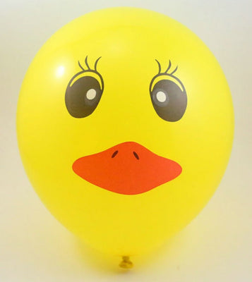12 Inch Yellow Duck Cartoon Air Helium Balloon Decoration - Pk 5