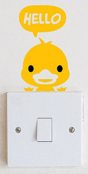 Yellow Duck Light Switch Wall Decal Vinyl Stickers