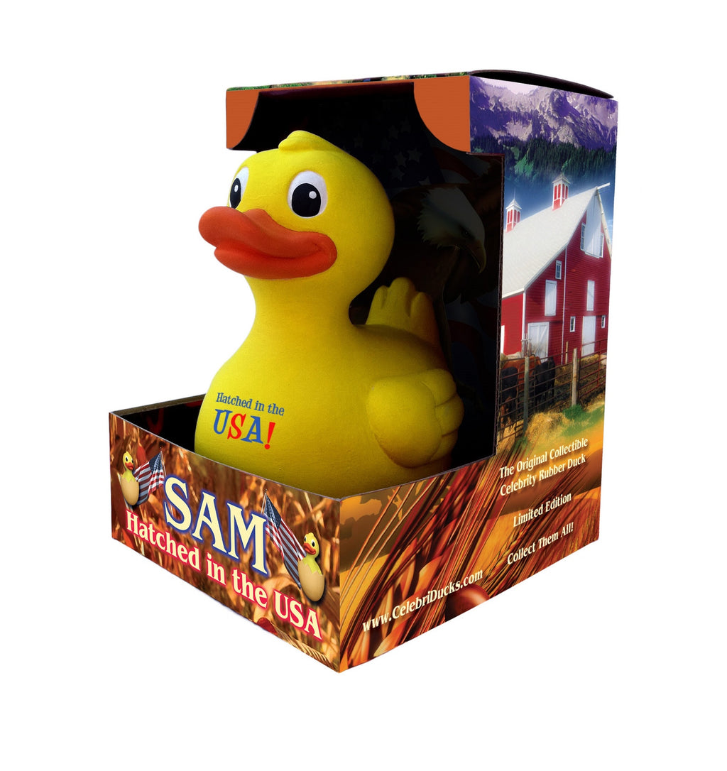 SAM, 100 % Hatched in the USA Rubber Duck - By Celebriducks - Limited Edition