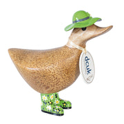DCUK Natural Welly Ducky with Hat - Green Flowers
