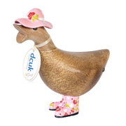 DCUK Natural Welly Ducky with Hat - Pink Flowers