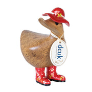DCUK Natural Welly Ducky with Hat - Red Flowers