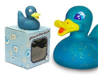 Glow in the Duck - Fluorescent Blue Light Up Colour Changing LED Rubber Duck from Locomocean