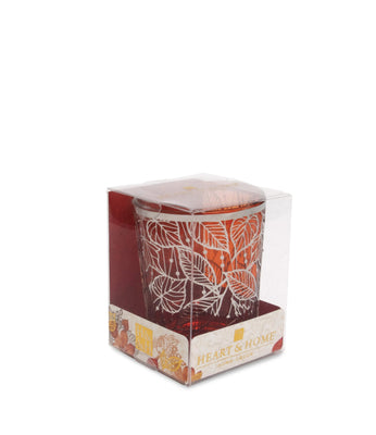 Orange Glass Votive Holder (Leaves) - From Heart and Home