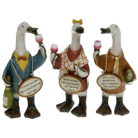 Davids Small Wine loving Message Ducks - Set of 3 Designs
