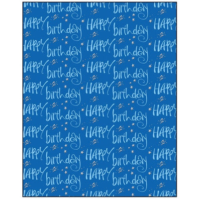 Happy Birthday on Blue Gift Wrapping Paper