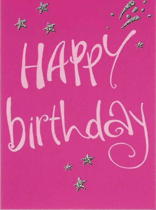 Happy Birthday on Pink Gift Tag