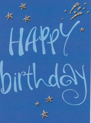 Happy Birthday on Blue Gift Tag