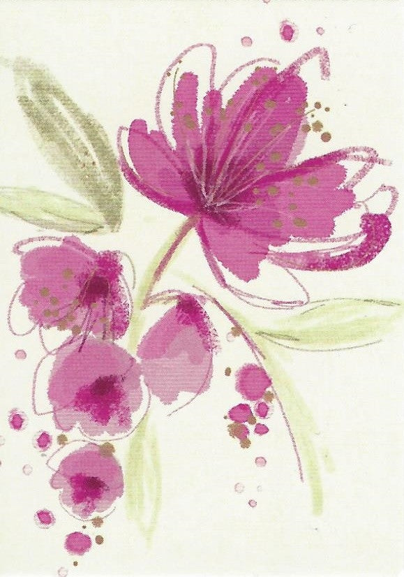 Pink Flower on Cream Gift Tag