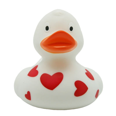 White rubber duck with red hearts