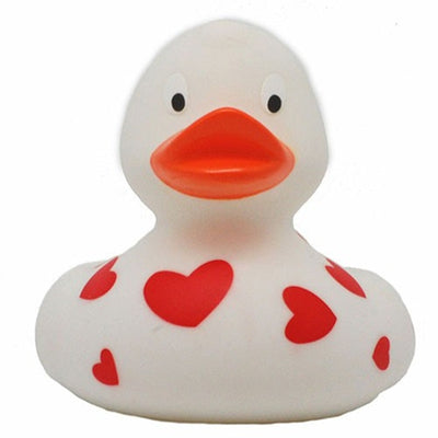 White rubber duck with red hearts money box 14cm - DD
