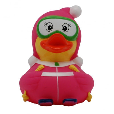 Skier rubber duck red