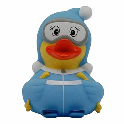 Skier rubber duck blue